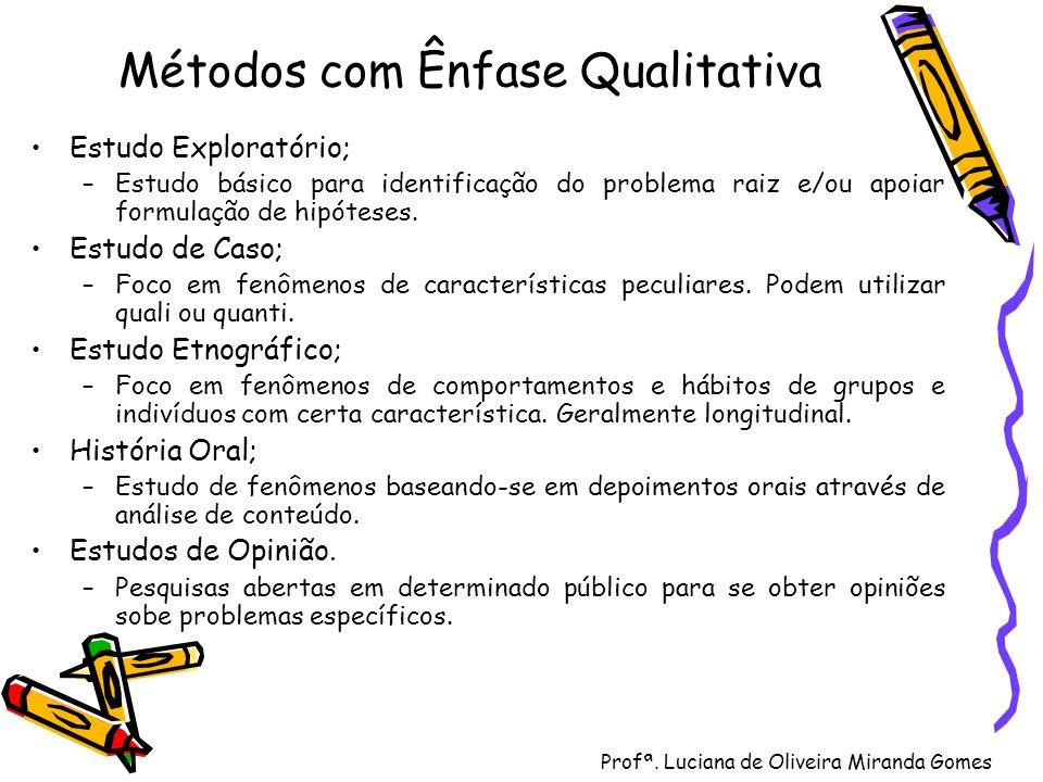 Profª. Luciana de Oliveira Miranda Gomes Métodos com Ênfase Qualitativa Estudo Exploratório; –Estudo básico para identificação do problema raiz e/ou a