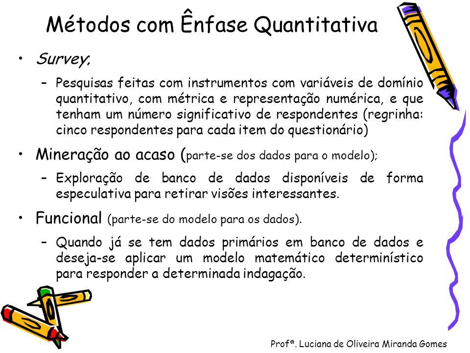 Profª. Luciana de Oliveira Miranda Gomes Métodos com Ênfase Quantitativa Survey; –Pesquisas feitas com instrumentos com variáveis de domínio quantitat