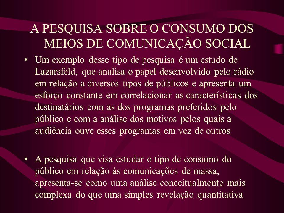 A PESQUISA SOBRE O CONSUMO DOS MEIOS DE COMUNICAÇÃO SOCIAL Um exemplo desse tipo de pesquisa é um estudo de Lazarsfeld, que analisa o papel desenvolvi