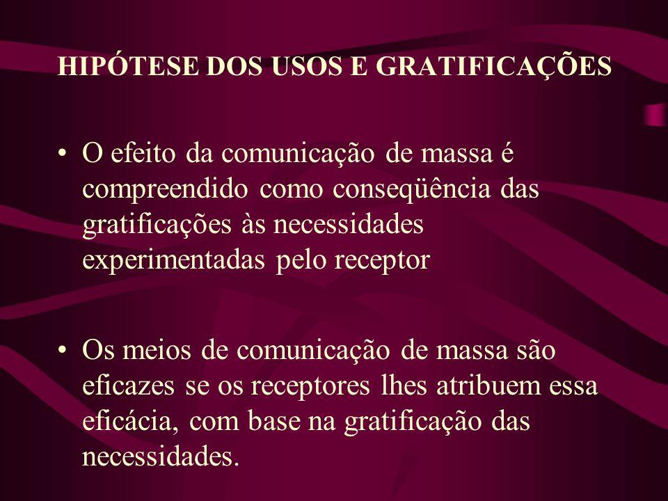HIPÓTESE DOS USOS E GRATIFICAÇÕES O efeito da comunicação de massa é compreendido como conseqüência das gratificações às necessidades experimentadas p