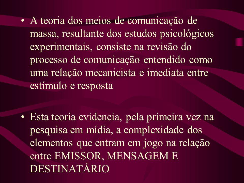 A teoria dos meios de comunicação de massa, resultante dos estudos psicológicos experimentais, consiste na revisão do processo de comunicação entendid