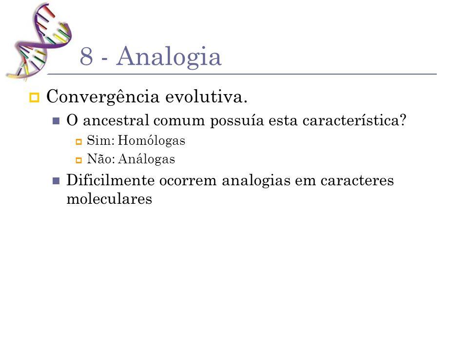 8 - Analogia Convergência evolutiva. O ancestral comum possuía esta característica? Sim: Homólogas Não: Análogas Dificilmente ocorrem analogias em car