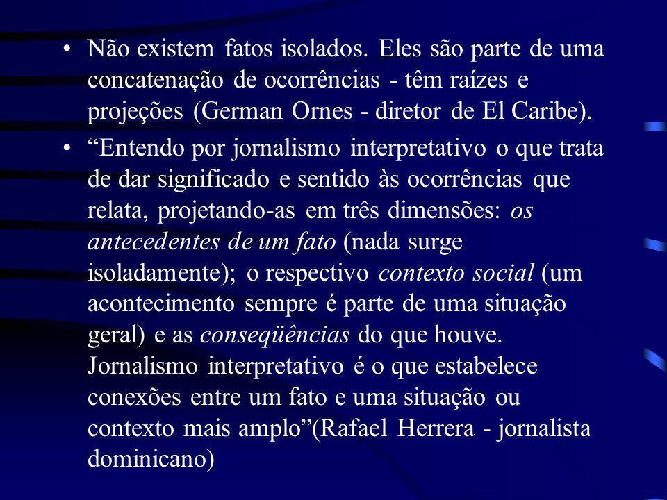 Não existem fatos isolados. Eles são parte de uma concatenação de ocorrências - têm raízes e projeções (German Ornes - diretor de El Caribe). Entendo