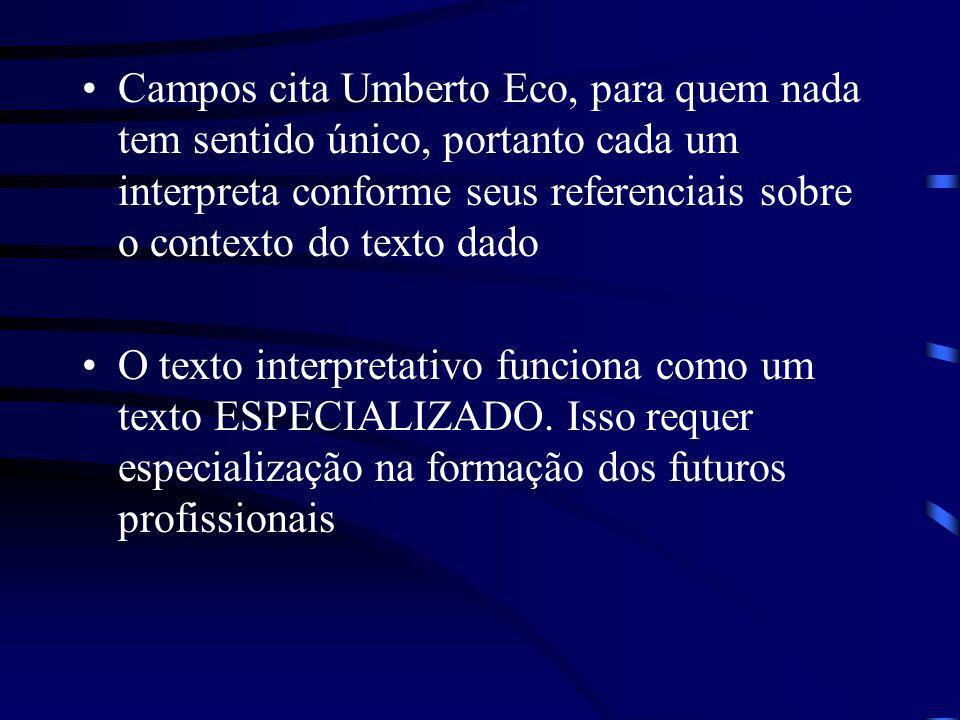 Campos cita Umberto Eco, para quem nada tem sentido único, portanto cada um interpreta conforme seus referenciais sobre o contexto do texto dado O tex