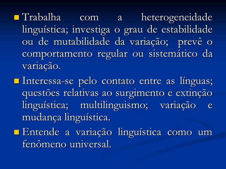 Trabalha com a heterogeneidade linguística; investiga o grau de estabilidade ou de mutabilidade da variação; prevê o comportamento regular ou sistemát