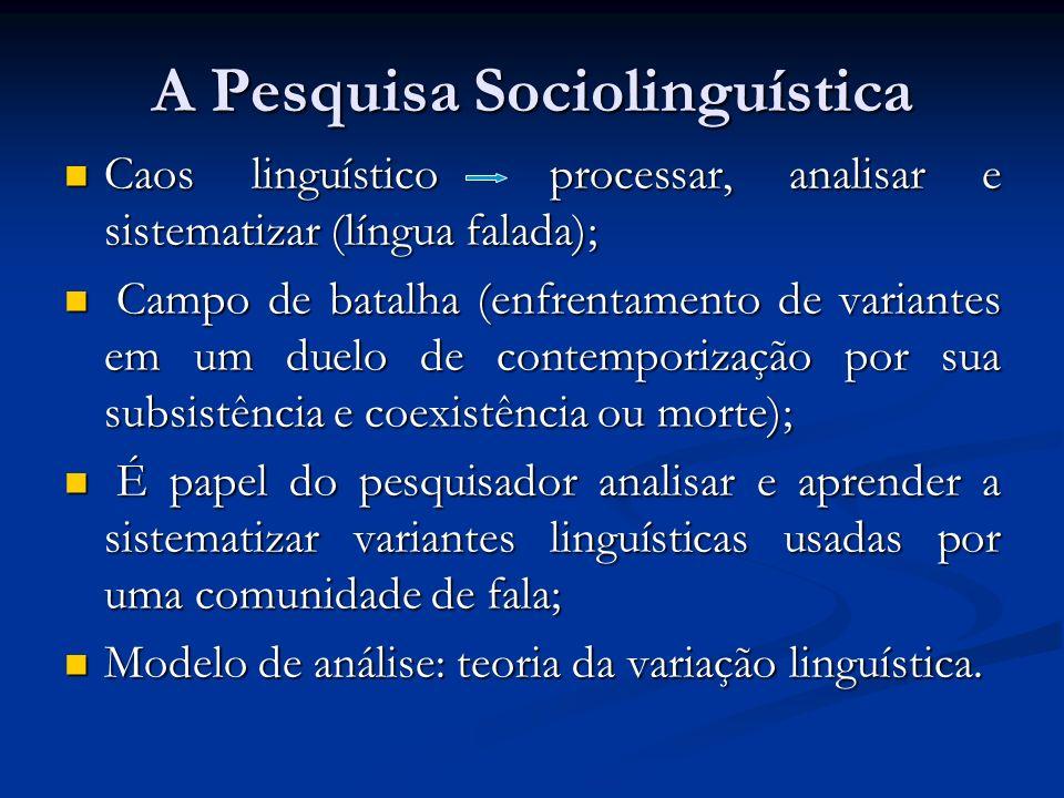 A Pesquisa Sociolinguística Caos linguístico processar, analisar e sistematizar (língua falada); Caos linguístico processar, analisar e sistematizar (