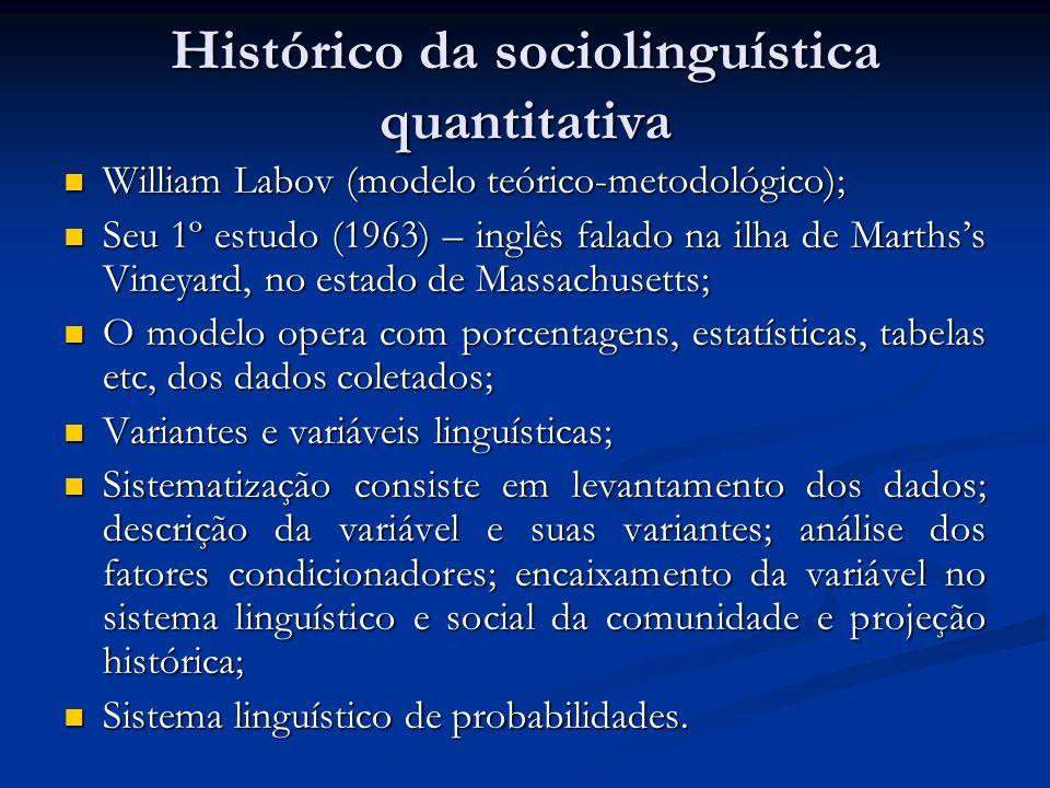 Histórico da sociolinguística quantitativa William Labov (modelo teórico-metodológico); William Labov (modelo teórico-metodológico); Seu 1º estudo (19