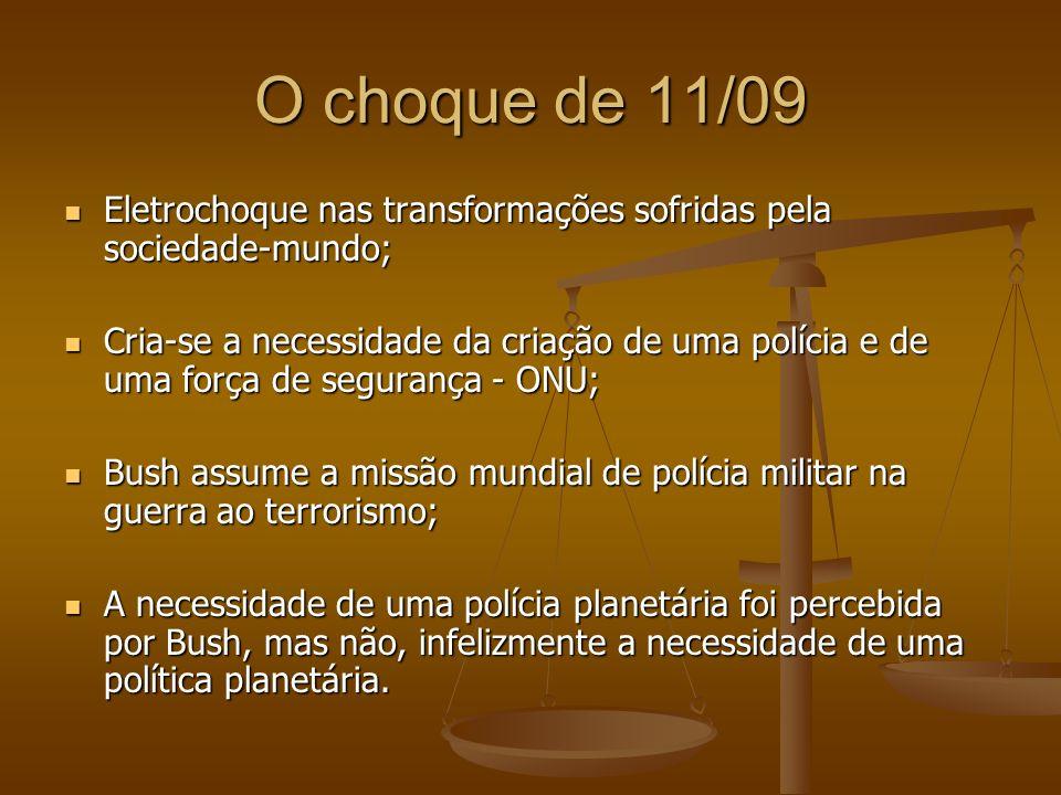 O choque de 11/09 Eletrochoque nas transformações sofridas pela sociedade-mundo; Eletrochoque nas transformações sofridas pela sociedade-mundo; Cria-s