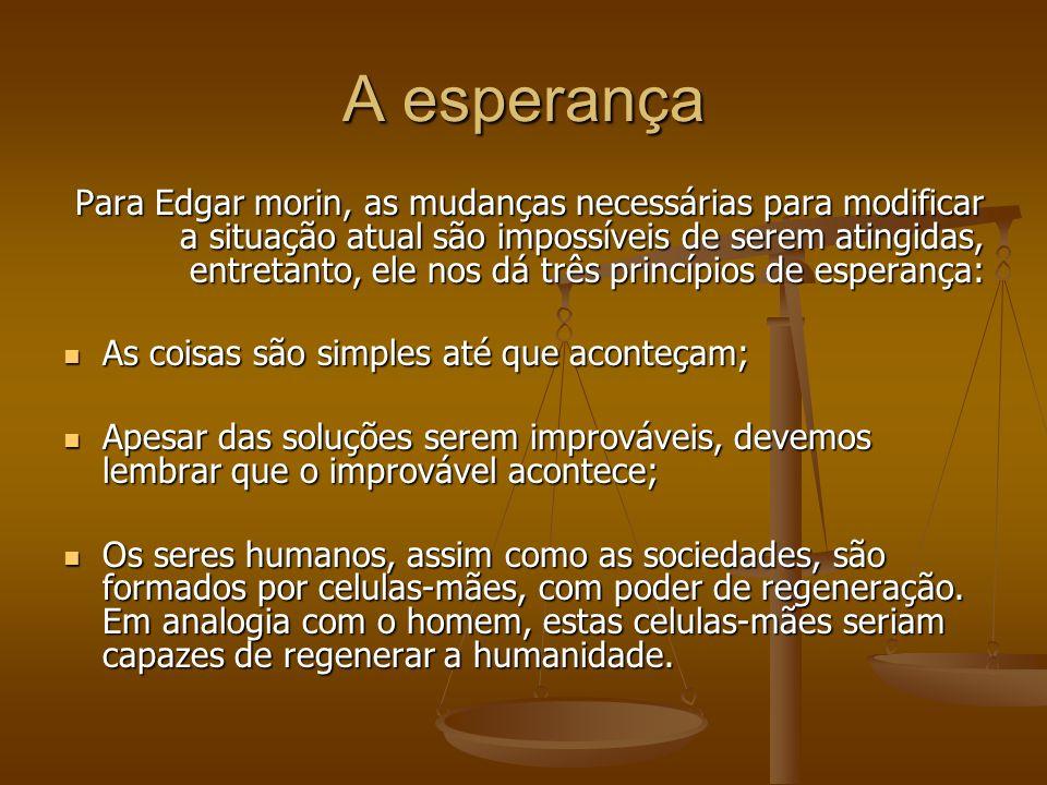 A esperança Para Edgar morin, as mudanças necessárias para modificar a situação atual são impossíveis de serem atingidas, entretanto, ele nos dá três