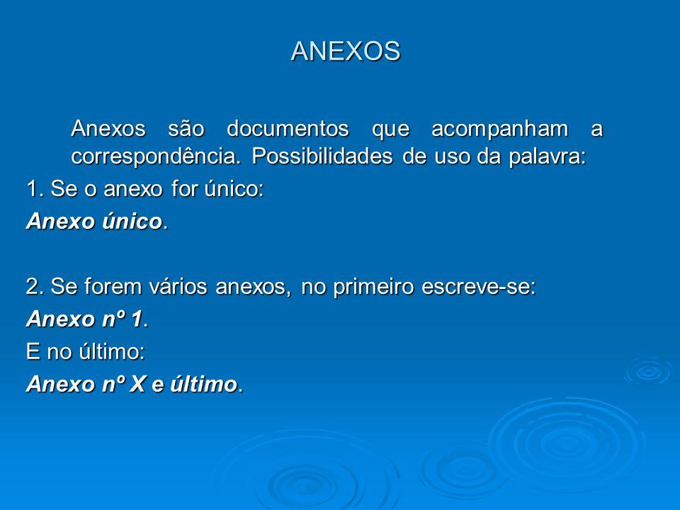 ANEXOS Anexos são documentos que acompanham a correspondência. Possibilidades de uso da palavra: 1. Se o anexo for único: Anexo único. 2. Se forem vár