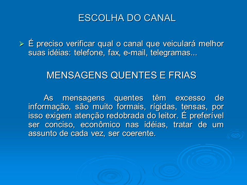 ESCOLHA DO CANAL É preciso verificar qual o canal que veiculará melhor suas idéias: telefone, fax, e-mail, telegramas... É preciso verificar qual o ca