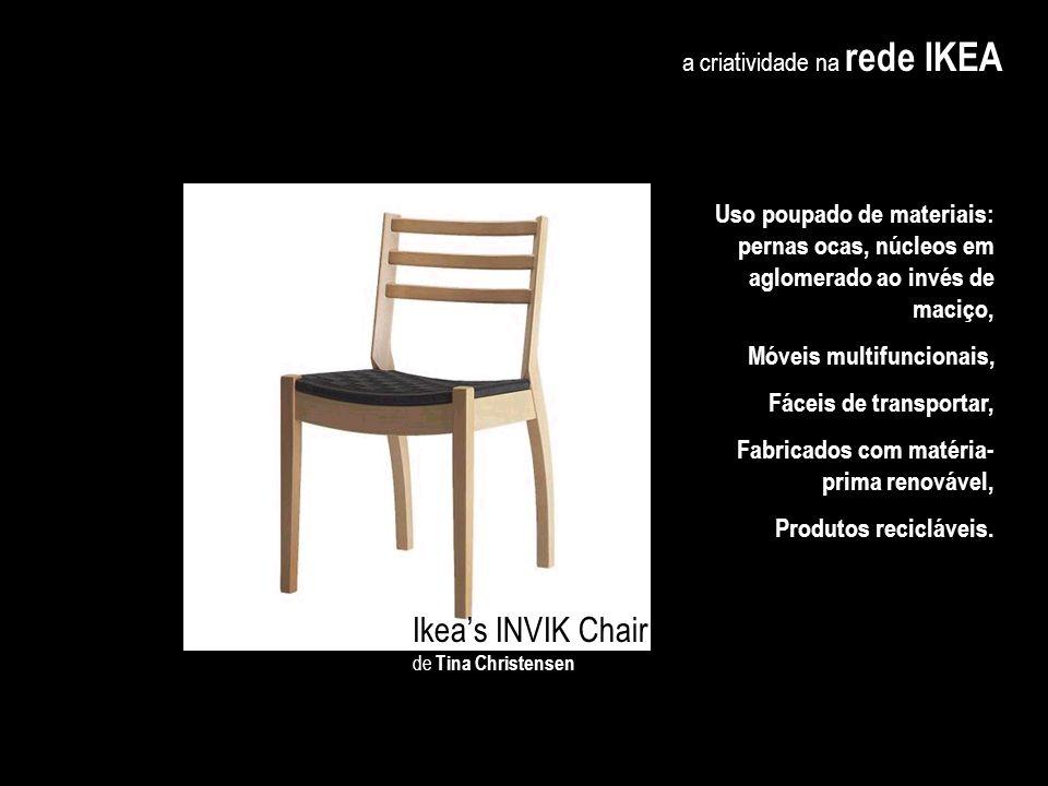 a criatividade na rede IKEA Evitar certos materiais e métodos de fabricação em benefício do ambiente me obriga a ser mais INOVADORA, LIBERTA A CRIATIV
