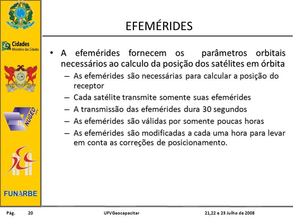 Pág. 21,22 e 23 Julho de 2008UFVGeocapacitar20 EFEMÉRIDES A efemérides fornecem os parâmetros orbitais necessários ao calculo da posição dos satélites