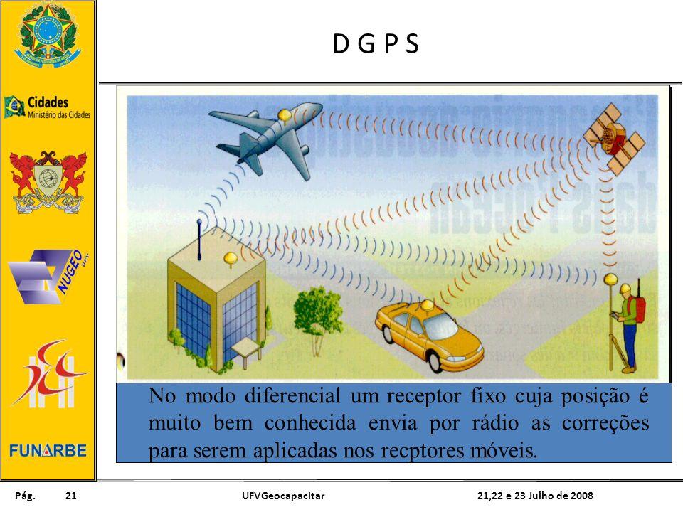 Pág. 21,22 e 23 Julho de 2008UFVGeocapacitar21 D G P S No modo diferencial um receptor fixo cuja posição é muito bem conhecida envia por rádio as corr