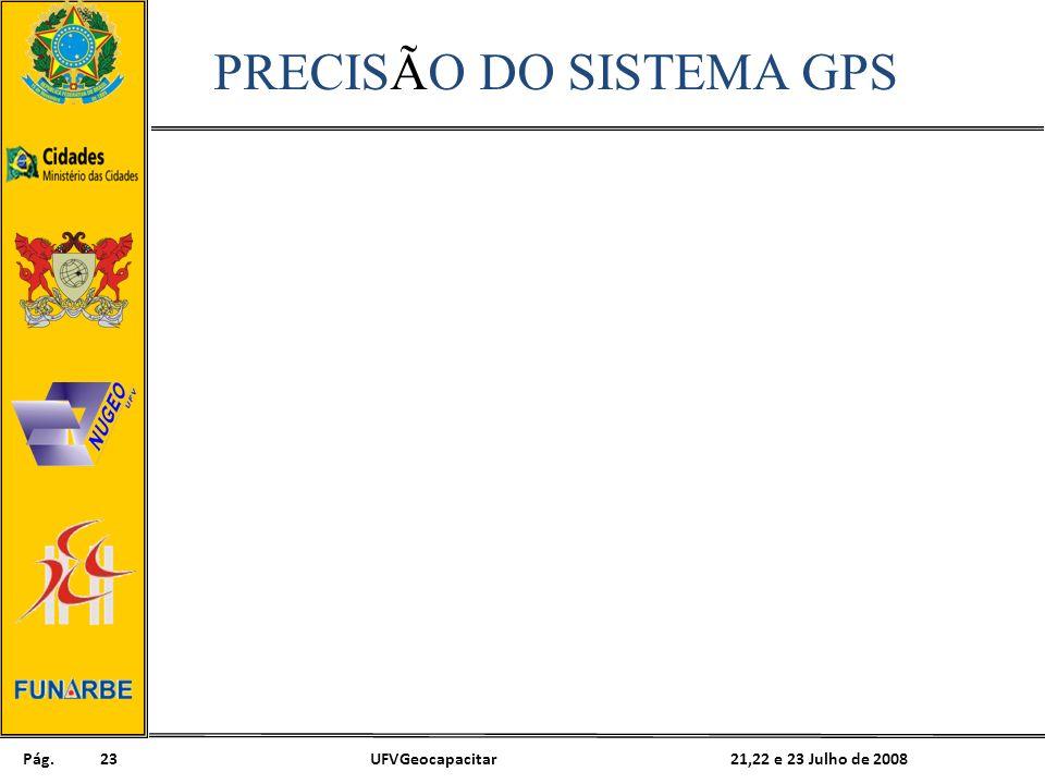 Pág. 21,22 e 23 Julho de 2008UFVGeocapacitar23 PRECISÃO DO SISTEMA GPS