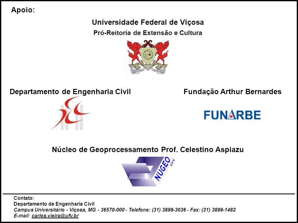 Pág. 21,22 e 23 Julho de 2008UFVGeocapacitar38 Apoio: Universidade Federal de Viçosa Pró-Reitoria de Extensão e Cultura Departamento de Engenharia Civ
