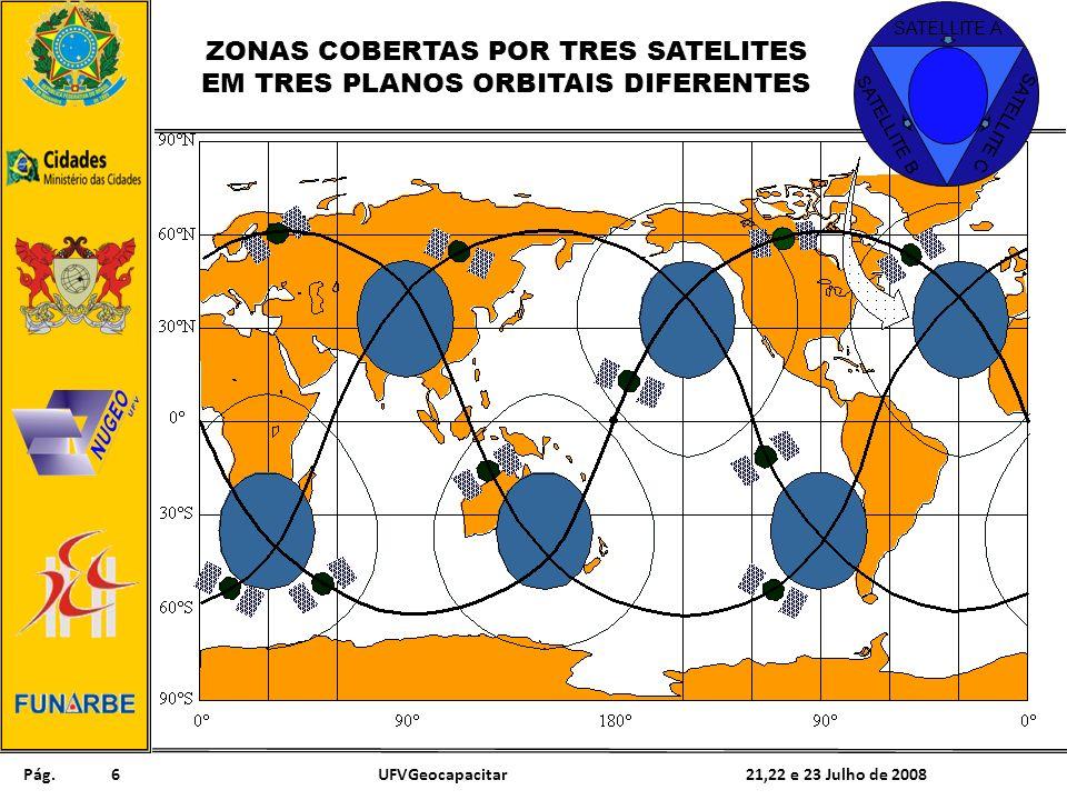 Pág. 21,22 e 23 Julho de 2008UFVGeocapacitar6 SATELLITE B SATELLITE A SATELLITE C ZONAS COBERTAS POR TRES SATELITES EM TRES PLANOS ORBITAIS DIFERENTES