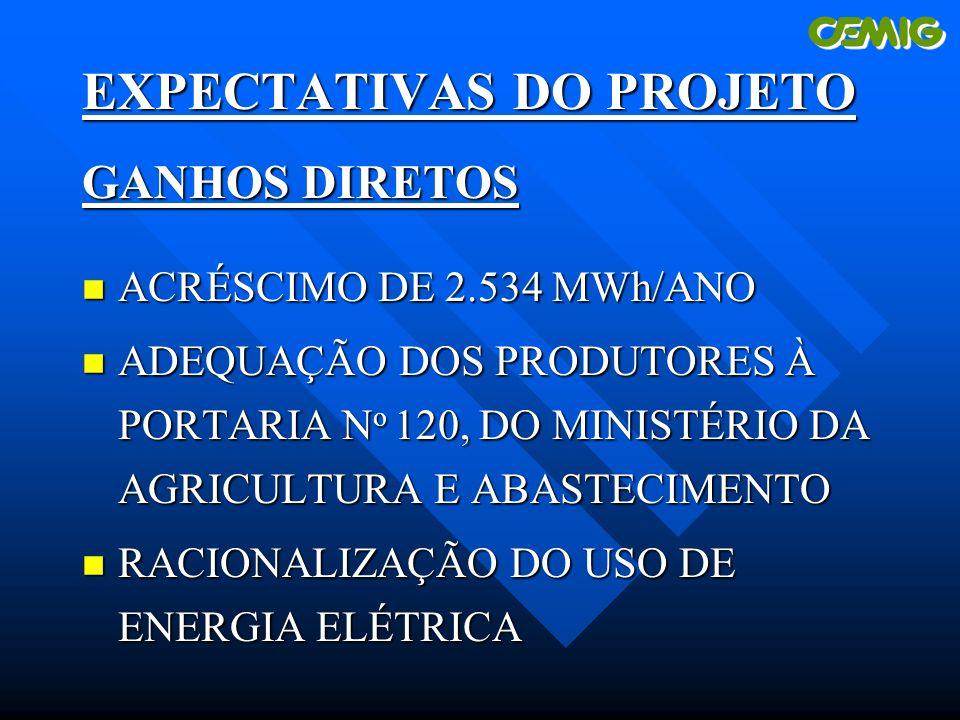 EXPECTATIVAS DO PROJETO GANHOS DIRETOS n ACRÉSCIMO DE 2.534 MWh/ANO n ADEQUAÇÃO DOS PRODUTORES À PORTARIA N o 120, DO MINISTÉRIO DA AGRICULTURA E ABASTECIMENTO n RACIONALIZAÇÃO DO USO DE ENERGIA ELÉTRICA