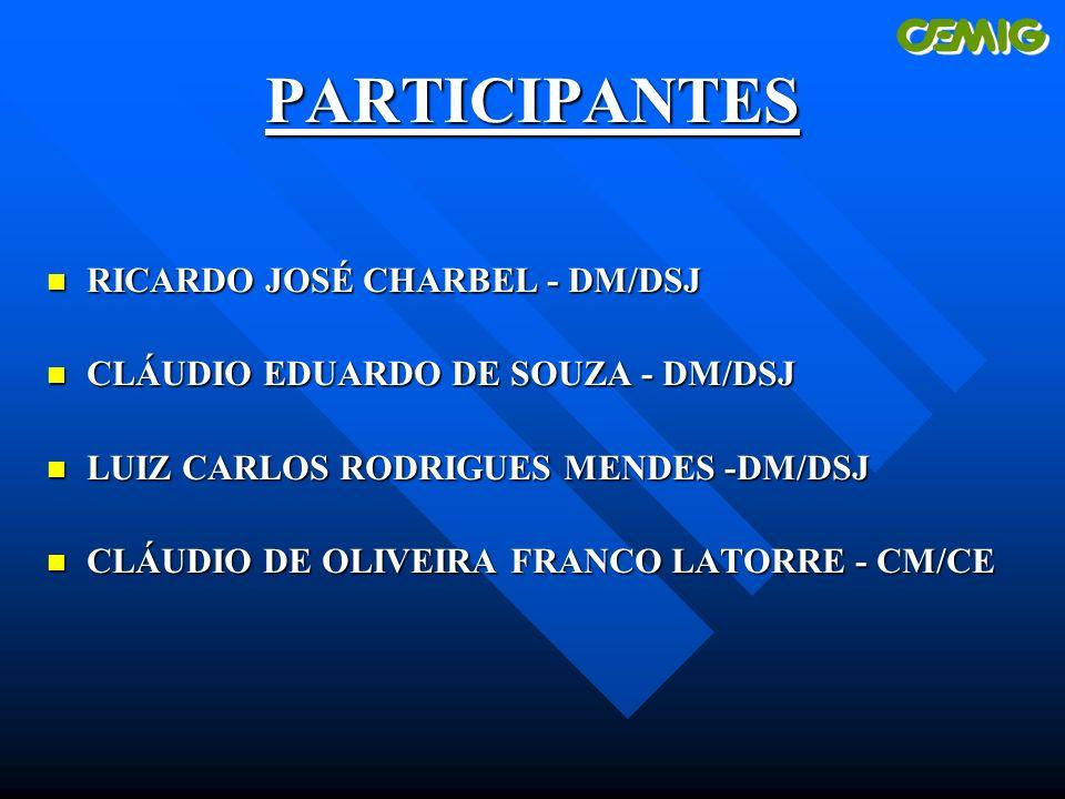 PARTICIPANTES n RICARDO JOSÉ CHARBEL - DM/DSJ n CLÁUDIO EDUARDO DE SOUZA - DM/DSJ n LUIZ CARLOS RODRIGUES MENDES -DM/DSJ n CLÁUDIO DE OLIVEIRA FRANCO LATORRE - CM/CE