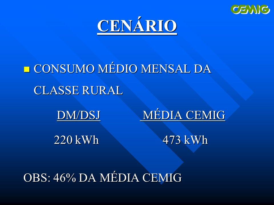 CENÁRIO n CONSUMO MÉDIO MENSAL DA CLASSE RURAL DM/DSJ MÉDIA CEMIG DM/DSJ MÉDIA CEMIG 220 kWh 473 kWh 220 kWh 473 kWh OBS: 46% DA MÉDIA CEMIG