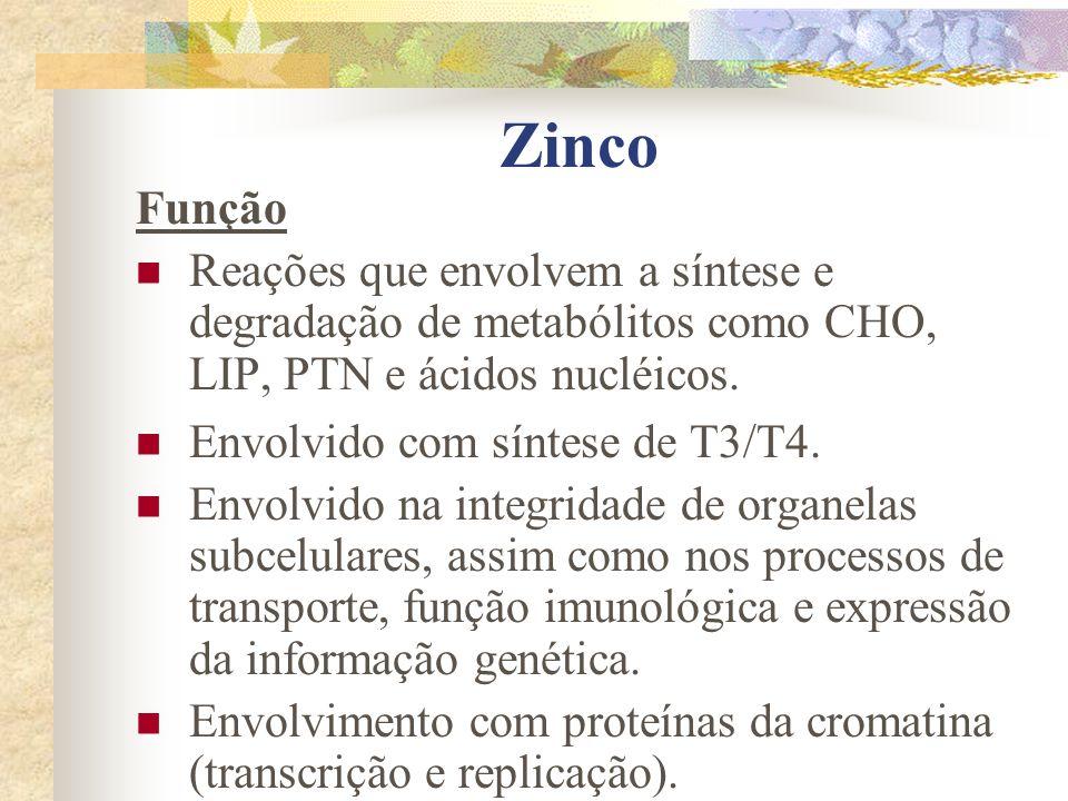 Zinco Função Reações que envolvem a síntese e degradação de metabólitos como CHO, LIP, PTN e ácidos nucléicos.