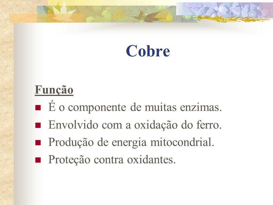 Cobre Função É o componente de muitas enzimas.Envolvido com a oxidação do ferro.
