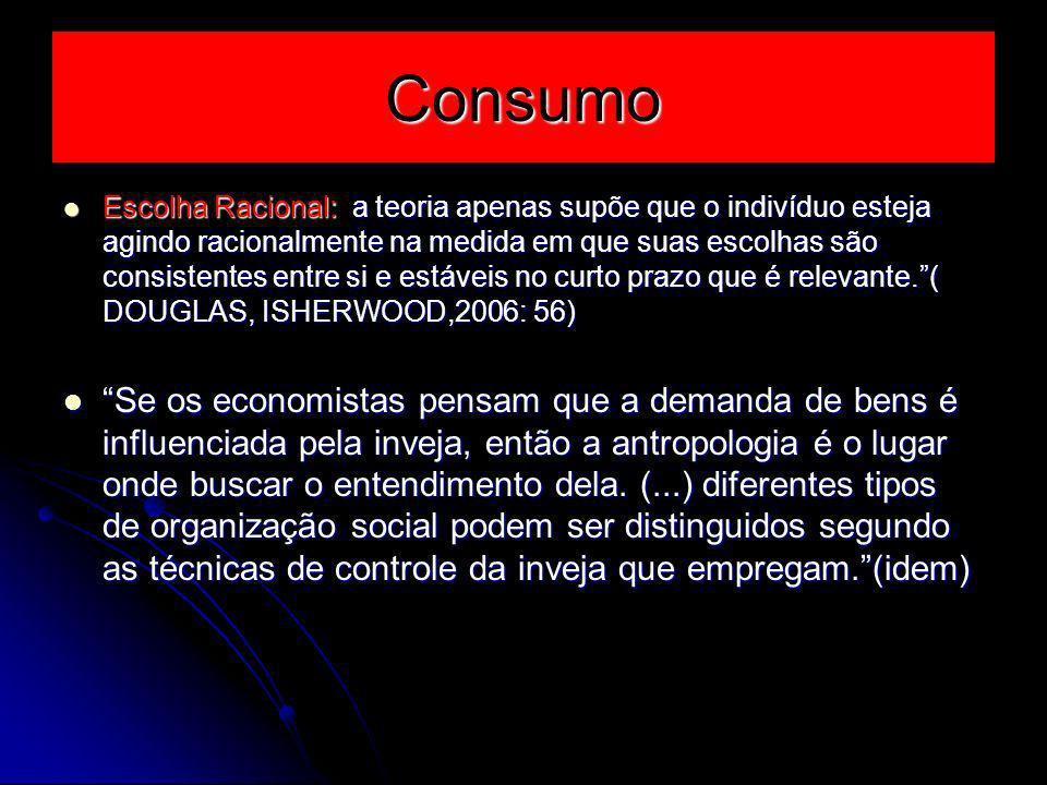 Consumo Escolha Racional: a teoria apenas supõe que o indivíduo esteja agindo racionalmente na medida em que suas escolhas são consistentes entre si e