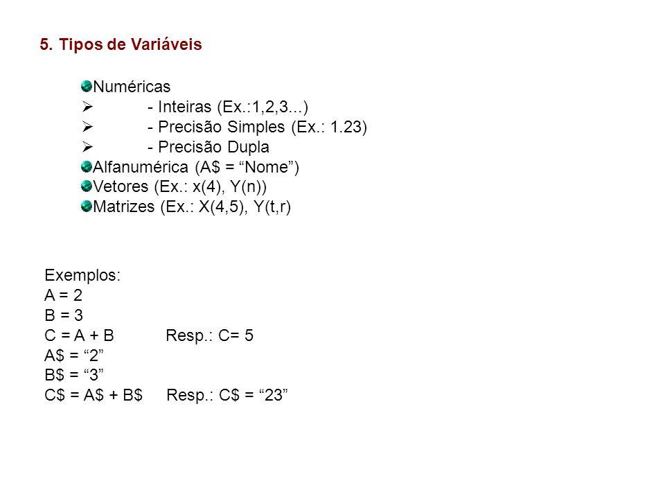 5. Tipos de Variáveis Numéricas - Inteiras (Ex.:1,2,3...) - Precisão Simples (Ex.: 1.23) - Precisão Dupla Alfanumérica (A$ = Nome) Vetores (Ex.: x(4),