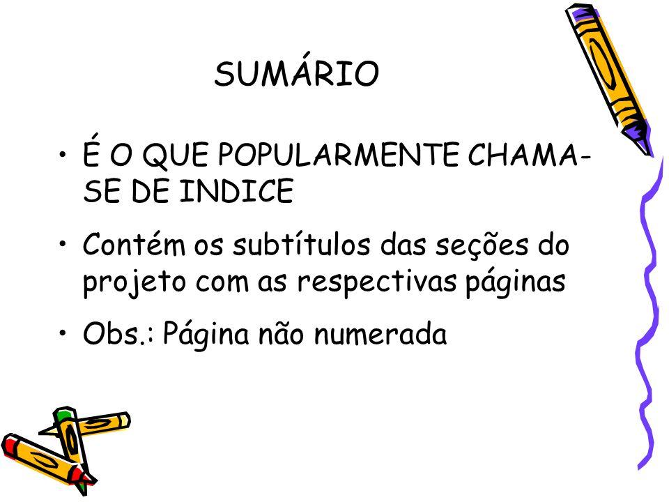 SUMÁRIO É O QUE POPULARMENTE CHAMA- SE DE INDICE Contém os subtítulos das seções do projeto com as respectivas páginas Obs.: Página não numerada