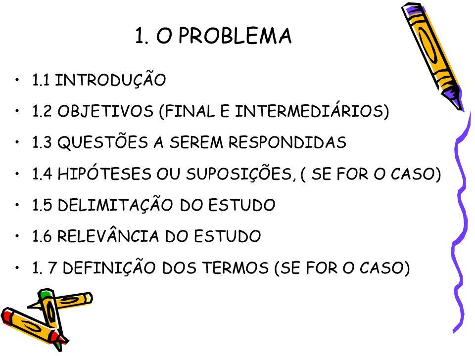 1. O PROBLEMA 1.1 INTRODUÇÃO 1.2 OBJETIVOS (FINAL E INTERMEDIÁRIOS) 1.3 QUESTÕES A SEREM RESPONDIDAS 1.4 HIPÓTESES OU SUPOSIÇÕES, ( SE FOR O CASO) 1.5