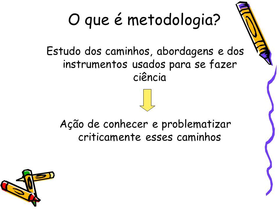 O que é metodologia? Estudo dos caminhos, abordagens e dos instrumentos usados para se fazer ciência Ação de conhecer e problematizar criticamente ess