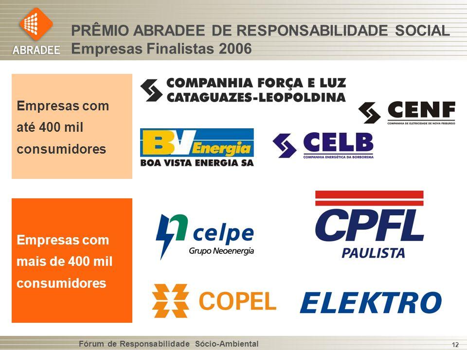 Fórum de Responsabilidade Sócio-Ambiental 12 PRÊMIO ABRADEE DE RESPONSABILIDADE SOCIAL Empresas Finalistas 2006 Empresas com até 400 mil consumidores Empresas com mais de 400 mil consumidores