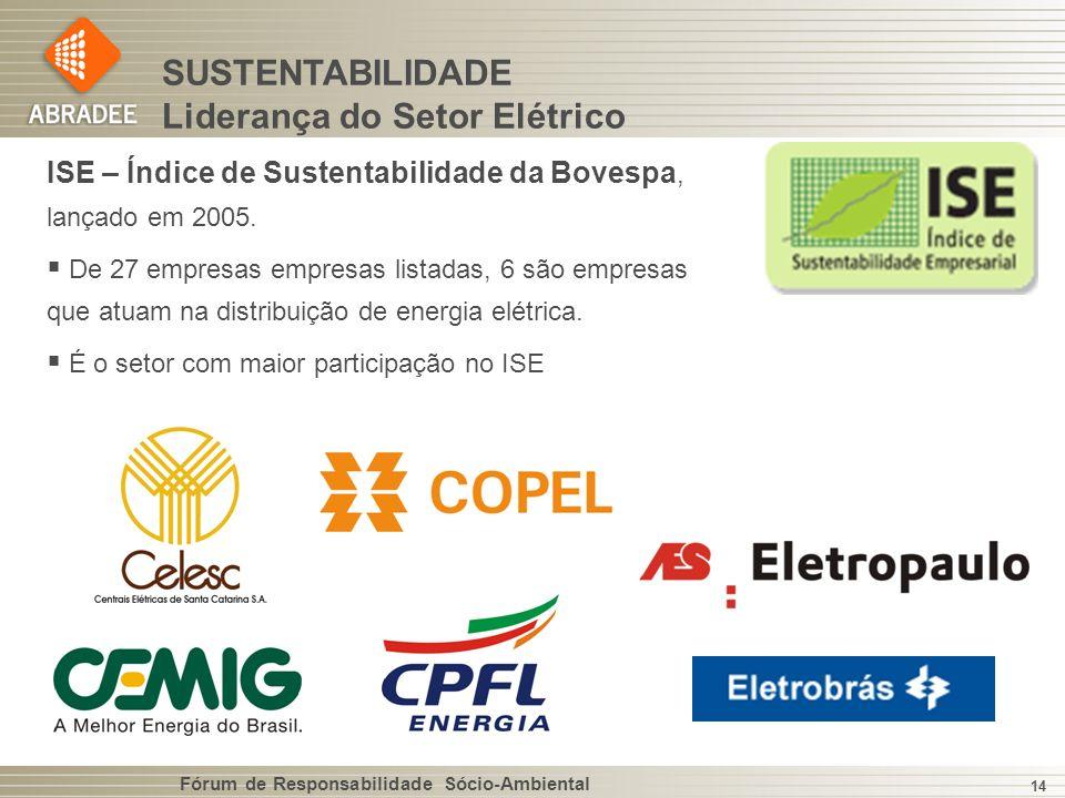 Fórum de Responsabilidade Sócio-Ambiental 14 SUSTENTABILIDADE Liderança do Setor Elétrico ISE – Índice de Sustentabilidade da Bovespa, lançado em 2005.