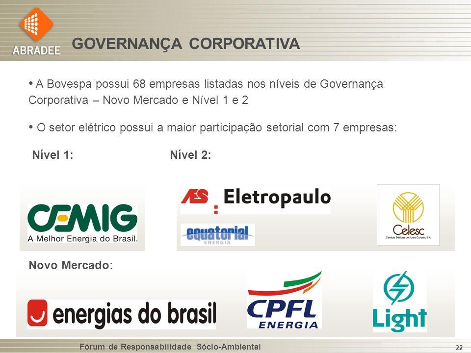 Fórum de Responsabilidade Sócio-Ambiental 22 GOVERNANÇA CORPORATIVA A Bovespa possui 68 empresas listadas nos níveis de Governança Corporativa – Novo Mercado e Nível 1 e 2 O setor elétrico possui a maior participação setorial com 7 empresas: Nível 1:Nível 2: Novo Mercado: