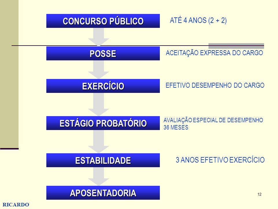 12 RICARDO CONZATTI CONCURSO PÚBLICO POSSE EXERCÍCIO ESTÁGIO PROBATÓRIO ESTABILIDADE APOSENTADORIA ATÉ 4 ANOS (2 + 2) AVALIAÇÃO ESPECIAL DE DESEMPENHO