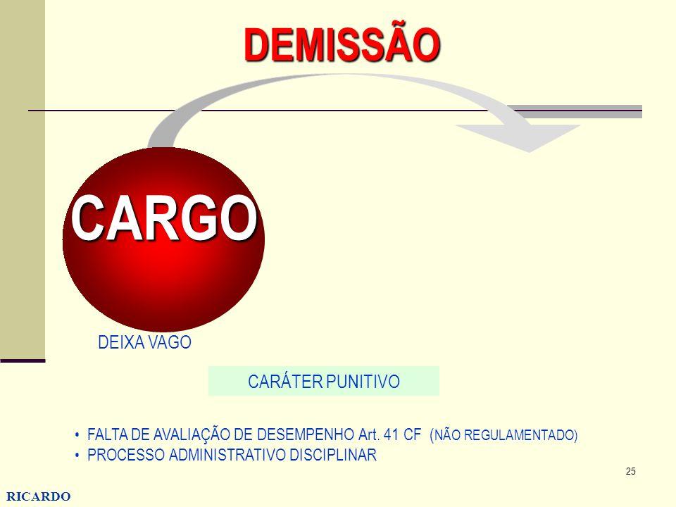 25 RICARDO CONZATTI DEMISSÃO CARGO CARÁTER PUNITIVO FALTA DE AVALIAÇÃO DE DESEMPENHO Art. 41 CF ( NÃO REGULAMENTADO) PROCESSO ADMINISTRATIVO DISCIPLIN