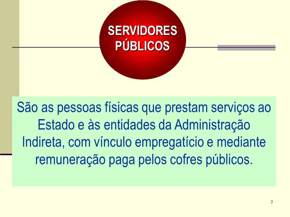 3 São as pessoas físicas que prestam serviços ao Estado e às entidades da Administração Indireta, com vínculo empregatício e mediante remuneração paga