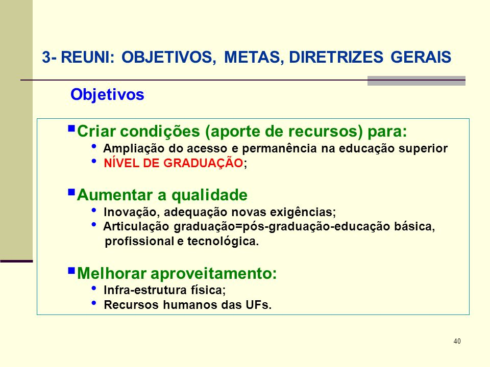 40 3- REUNI: OBJETIVOS, METAS, DIRETRIZES GERAIS Criar condições (aporte de recursos) para: Ampliação do acesso e permanência na educação superior NÍV