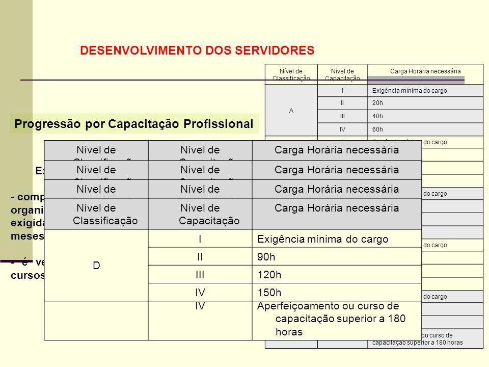 45 Nível de Classificação Nível de Capacitação Carga Horária necessária A IExigência mínima do cargo II20h III40h IV60h B IExigência mínima do cargo I
