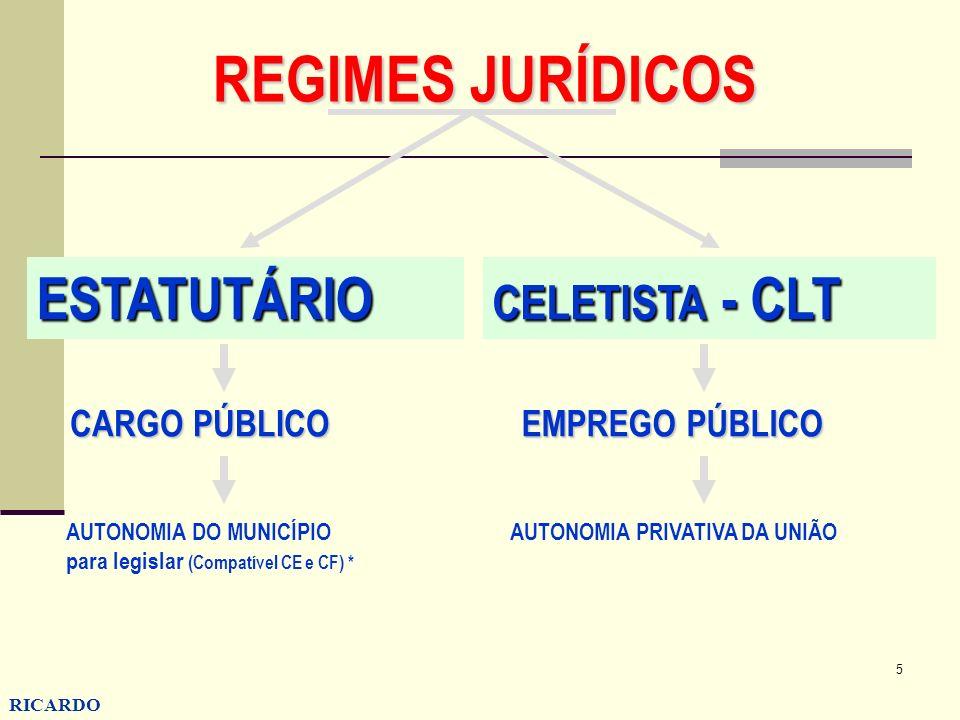 5 RICARDO CONZATTI REGIMES JURÍDICOS ESTATUTÁRIO CELETISTA - CLT CARGO PÚBLICO AUTONOMIA DO MUNICÍPIO para legislar (Compatível CE e CF) * EMPREGO PÚB