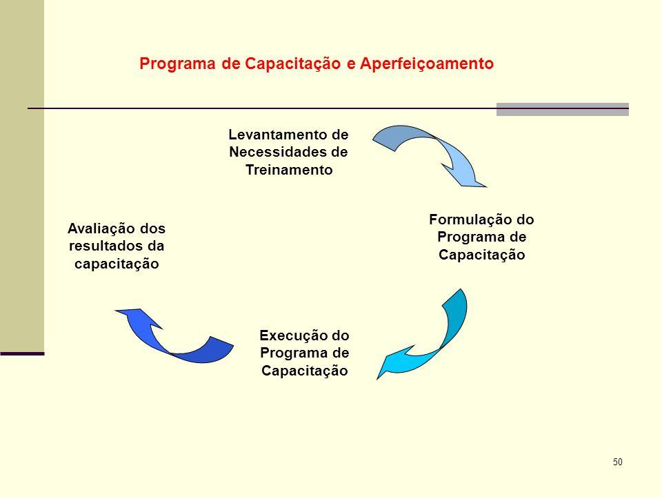 50 Levantamento de Necessidades de Treinamento Formulação do Programa de Capacitação Execução do Programa de Capacitação Avaliação dos resultados da c
