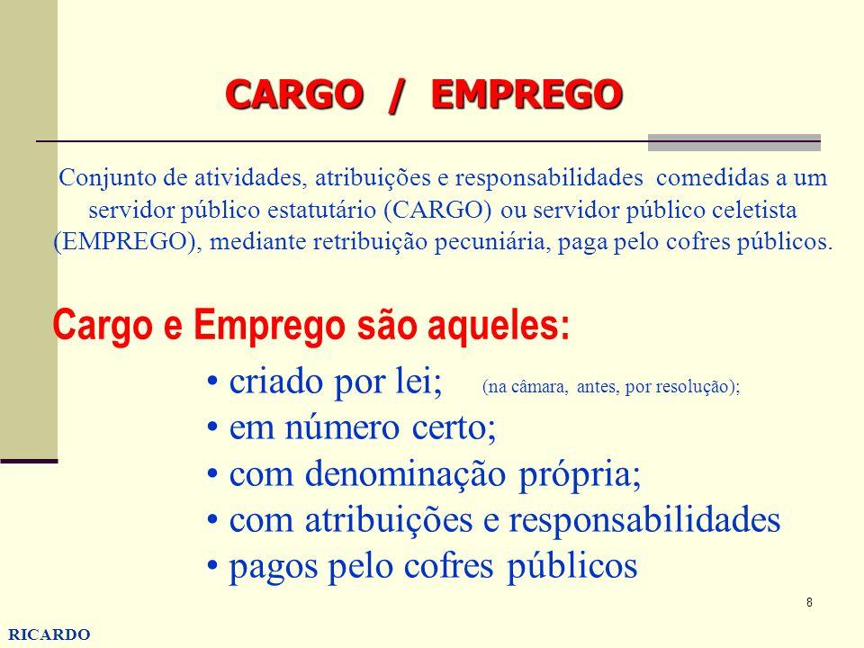 8 RICARDO CONZATTI CARGO / EMPREGO Conjunto de atividades, atribuições e responsabilidades comedidas a um servidor público estatutário (CARGO) ou serv