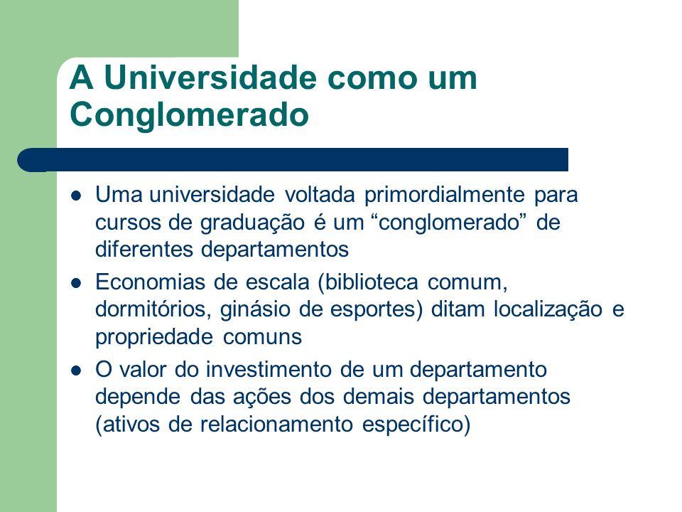A Universidade como um Conglomerado Uma universidade voltada primordialmente para cursos de graduação é um conglomerado de diferentes departamentos Ec