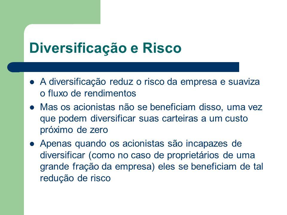 Diversificação e Risco A diversificação reduz o risco da empresa e suaviza o fluxo de rendimentos Mas os acionistas não se beneficiam disso, uma vez q
