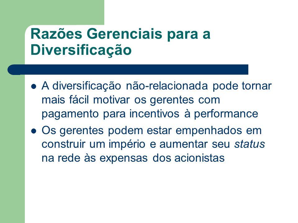 Razões Gerenciais para a Diversificação A diversificação não-relacionada pode tornar mais fácil motivar os gerentes com pagamento para incentivos à pe