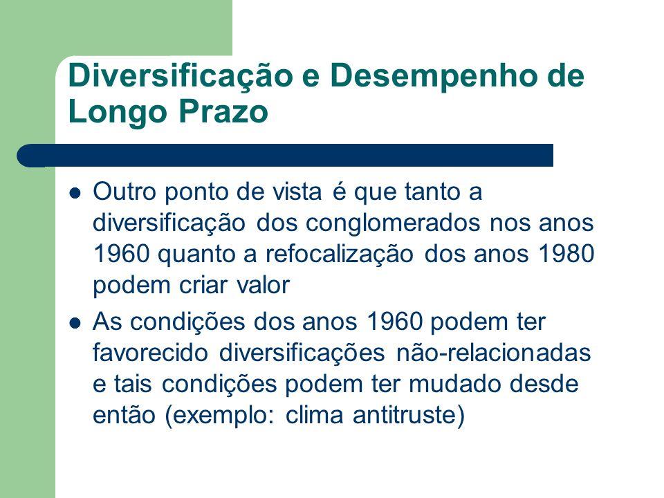 Diversificação e Desempenho de Longo Prazo Outro ponto de vista é que tanto a diversificação dos conglomerados nos anos 1960 quanto a refocalização do