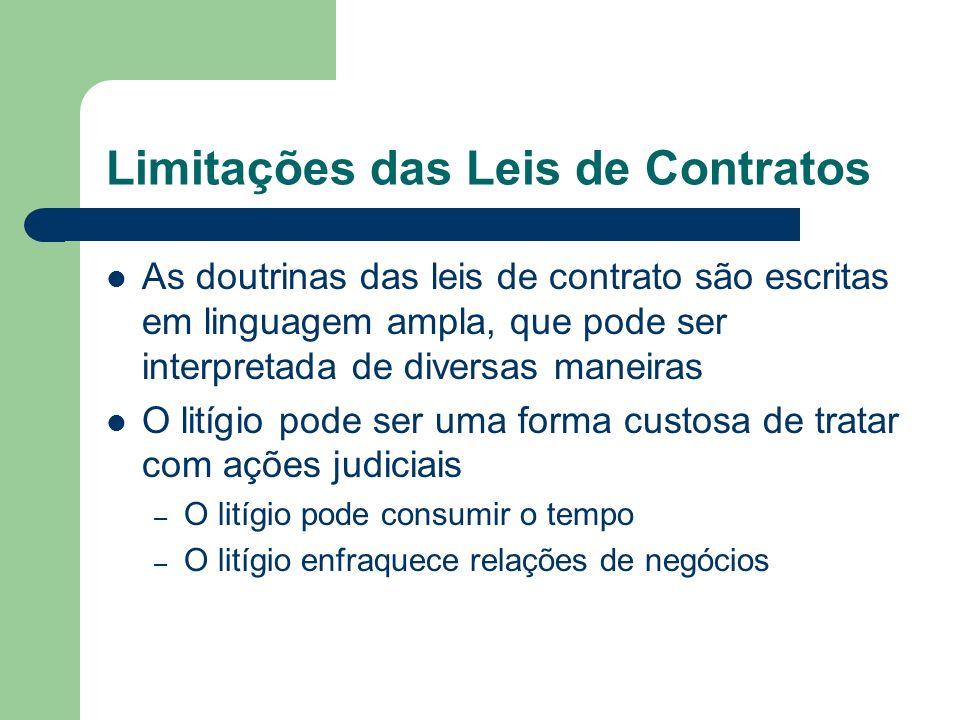 Limitações das Leis de Contratos As doutrinas das leis de contrato são escritas em linguagem ampla, que pode ser interpretada de diversas maneiras O l