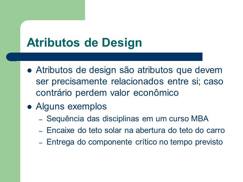 Atributos de Design Atributos de design são atributos que devem ser precisamente relacionados entre si; caso contrário perdem valor econômico Alguns e