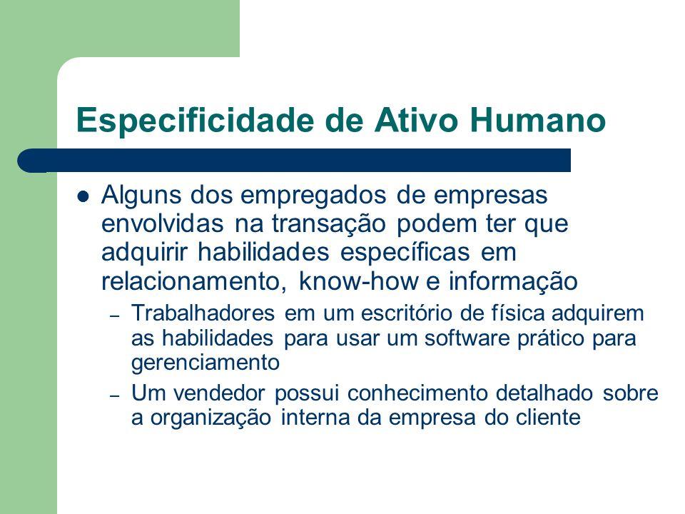 Especificidade de Ativo Humano Alguns dos empregados de empresas envolvidas na transação podem ter que adquirir habilidades específicas em relacioname
