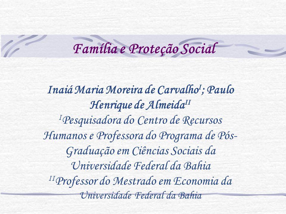 Carência de políticas públicas A família vê crescer suas responsabilidades como mecanismo de proteção social.